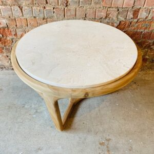 Round Coffee Table with Marble Top