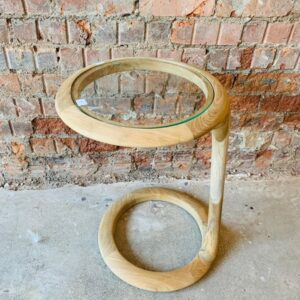 Retro Side Table with Glass-Top