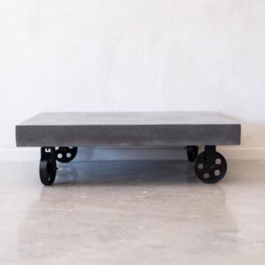 Cement Coffee Table, Iron Cast Wheels