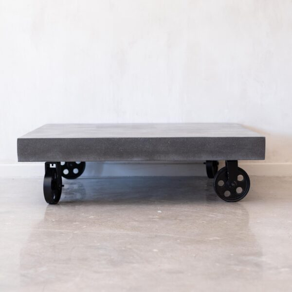 Cement Coffee Table,Iron Cast Wheels